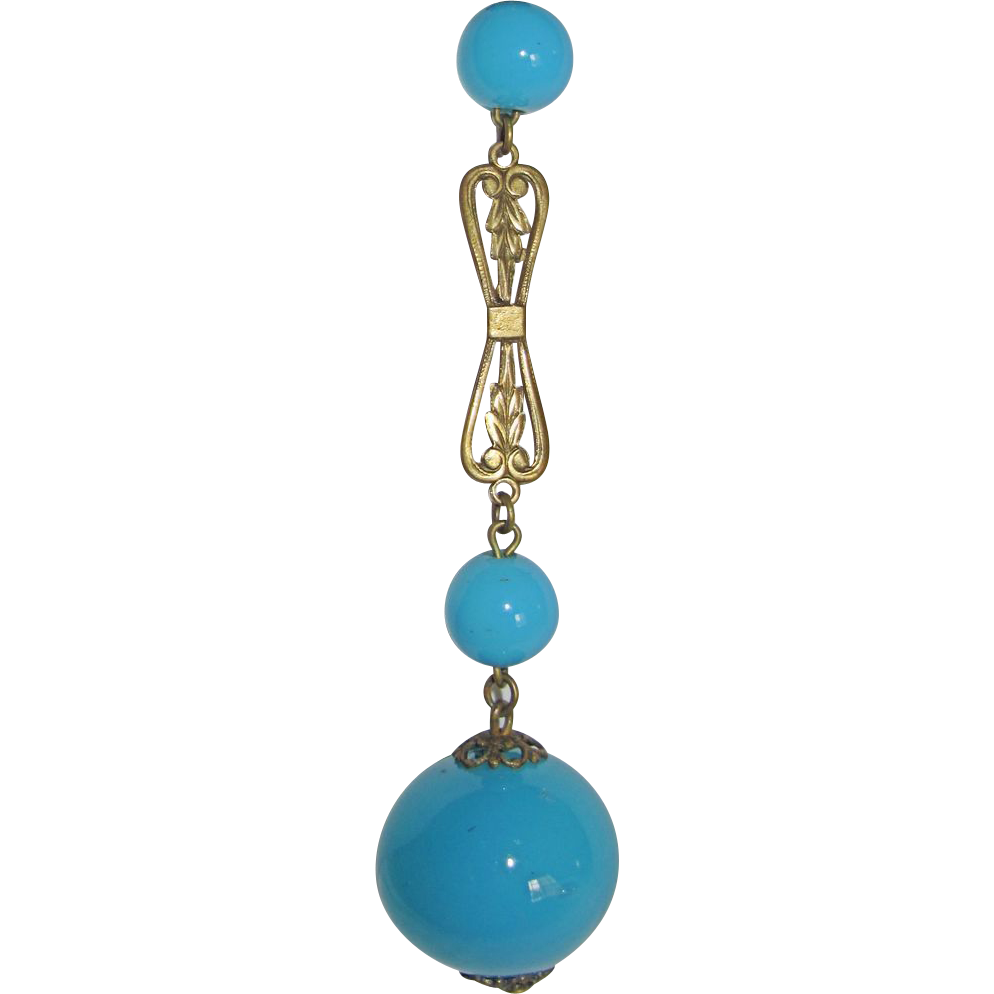 Flapper Turquoise Glass Beads Sautoir