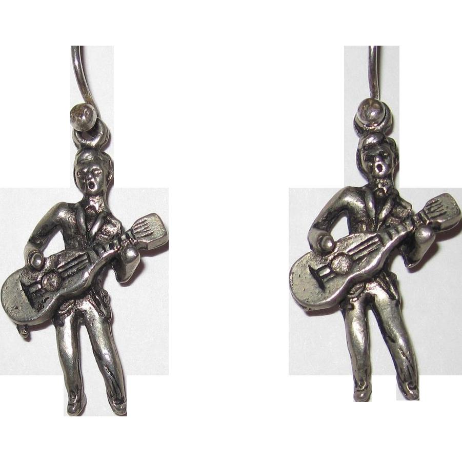 Vintage Guitar Man Earrings Beatles 1960s
