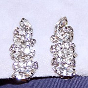 Excellent Vintage Rhinestone Clip Earrings Best