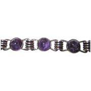 Early Carmen Beckmann Amethyst Sterling Bracelet
