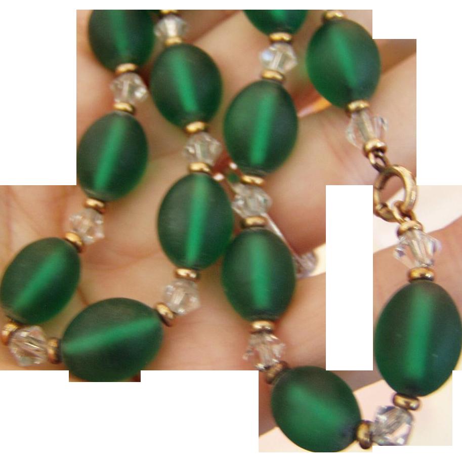 Best Frosted Glass Green Beads Choker