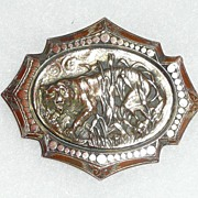 Victorian Repousse Big Cat In the Grass Pin