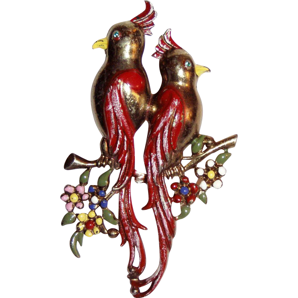 Large Enamelled  Birds Brooch