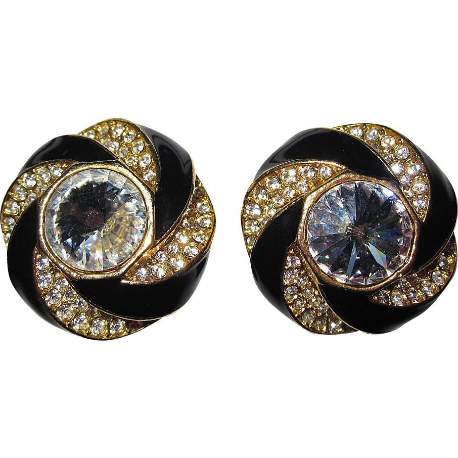 Vintage Large Black and Goldtone Clip Earrings