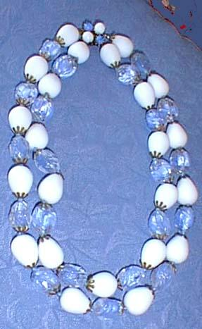 Austrian Necklace Blue and White Glass Beads