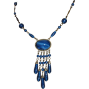 Art Deco Blue Peking Glass Pendant Necklace