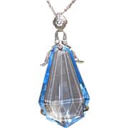 Vintage Blue Crystal Huge Art Deco Period Pendant