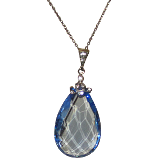 Art Deco Large Blue Crystal Pendent Necklace