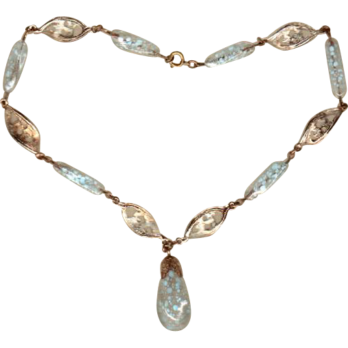 Artglass Choker Pale Blue Glass Speckled