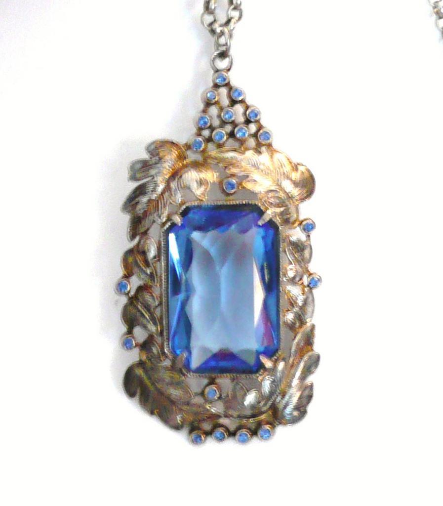 Large Art Deco Pendant Necklace Blue Glass