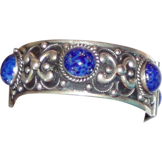 Wonderful Hinged Bangle Blue Glass Lapis Stones