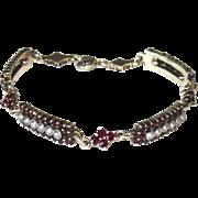 Vintage Bohemian Garnet Cultured Seed Pearls Bracelet