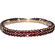 Bohemian Garnet Double Row Bangle Bracelet Victorian