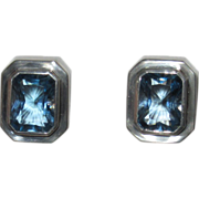 Bold Blue Topaz Sterling Clip Earrings