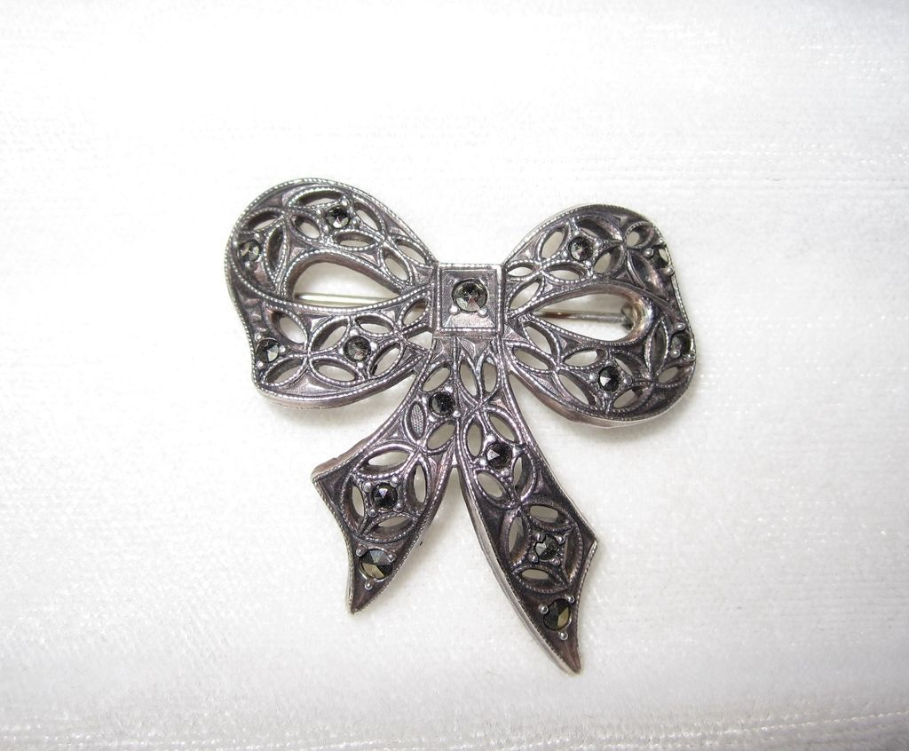 Vintage Marcasite Sterling Bow Pin
