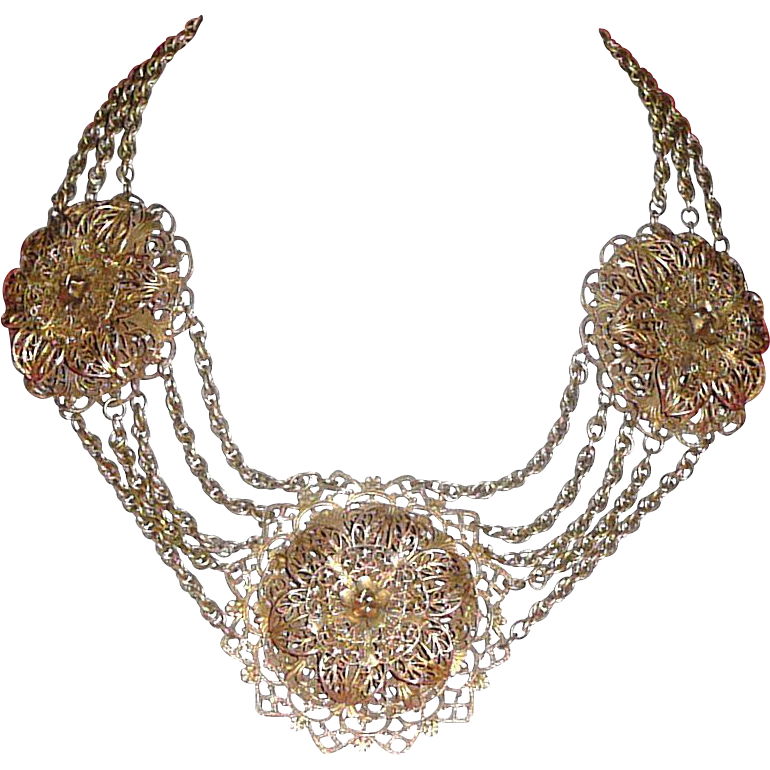 1930's Stupendous Filigree Necklace