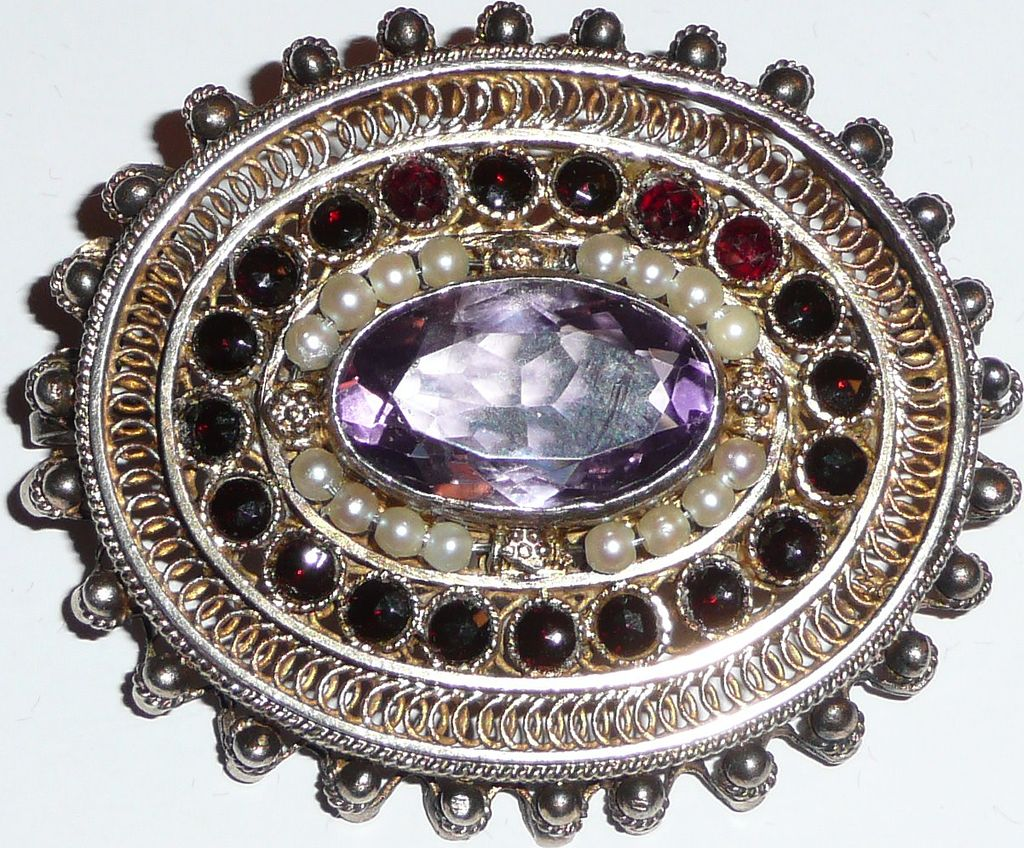 Antique Brooch Pendant Twisted Gilt Silver Wire Work