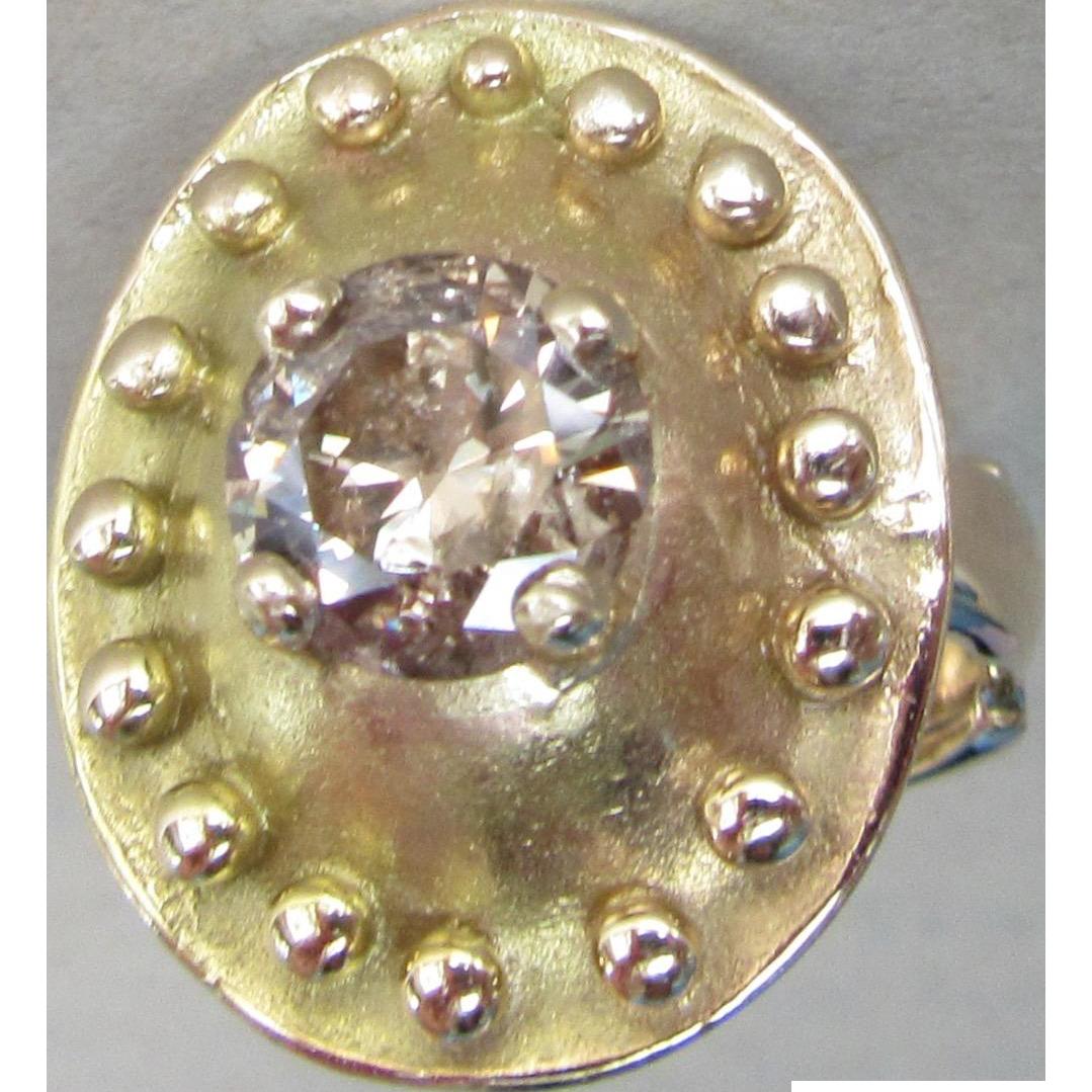 Amazing Estate 14K Champagne Diamond Shield Ring