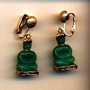 Vintage Clip Green Glass Buddha Earrings