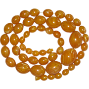 Genuine Baltic Egg Yolk Amber Beads Necklace