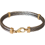 Estate Stainless Steel Cable Bracelet 14K