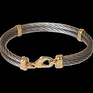 Estate Stainless Steel Cable Bracelet 14K