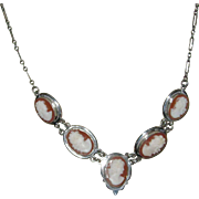 Vintage 800 Silver Cameo Necklace