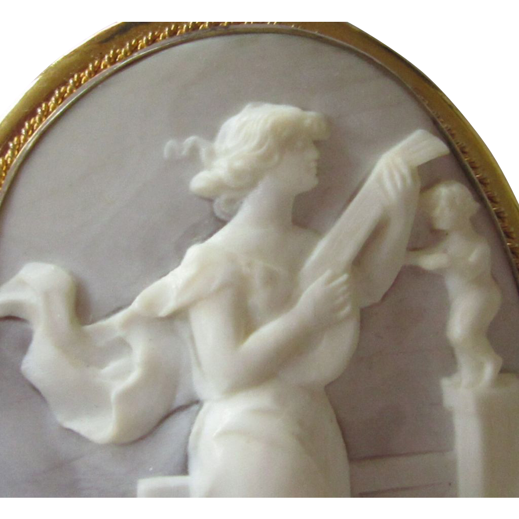 Antique Shell Cameo Woman Playing Lute