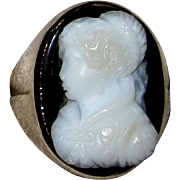 Antique Hardstone Cameo Ring 10K Rose Gold