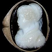 Antique Hardstone Cameo Ring Rose Gold