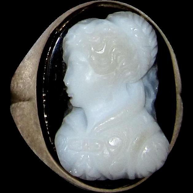 Antique Hardstone Cameo Ring 10K Rose Gold