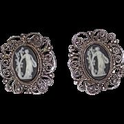 Vintage Sterling Filigree Large Wedgwood Earrings
