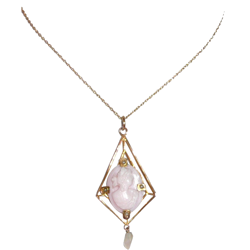 Lovely Antique Cameo Pendant Lavaliere Pink Shell and Seed Pearls