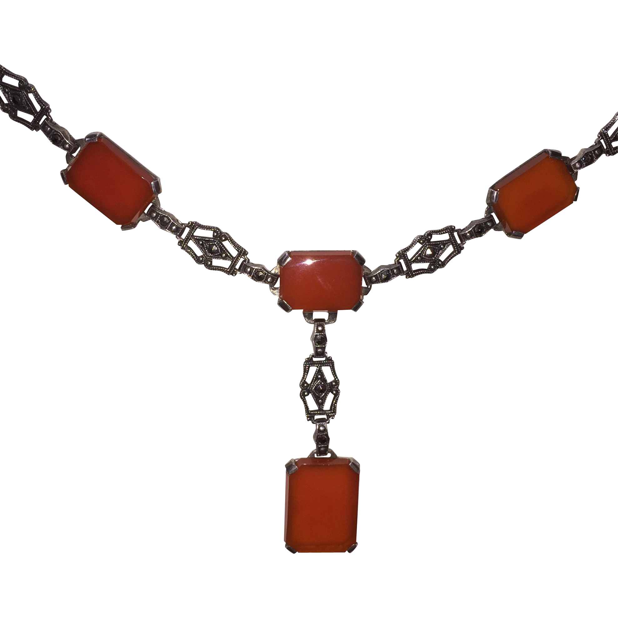 Art Deco Marcasite Sterling Carnelian Necklace
