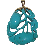 Beautiful Carved Turquoise Pendant Fruit with Bird 14K