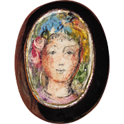 Vintage Ceramic Majolica Portrait Brooch and Earrings