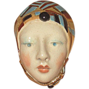 Fun Vintage Ceramic Head Brooch or Pendant