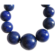 Vintage Estate Genuine Lapis Graduated Necklace  14K Clasp