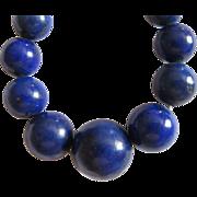 Vintage Estate Genuine Lapis Graduated Necklace  14K Clasp