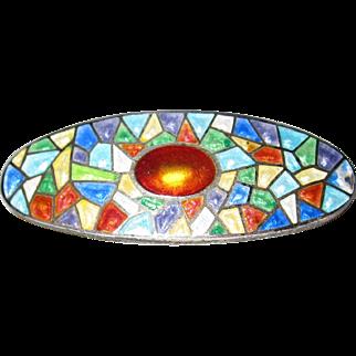 Charles Horner Enamel on Sterling Stained Glass Design Pin
