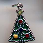 Enamel Sterling Vintage Christmas Tree Charm