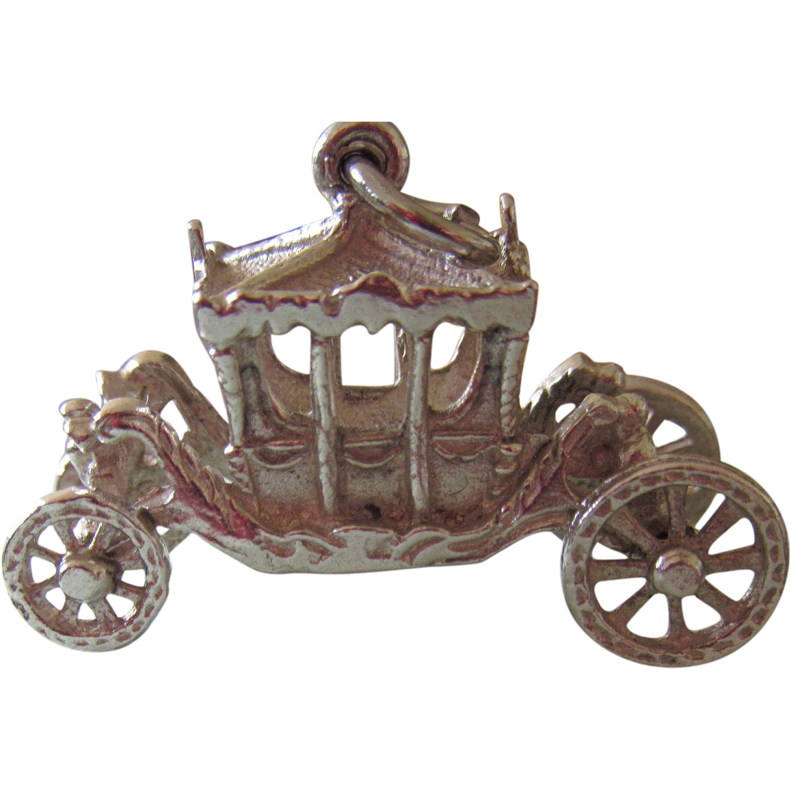 Vintage Large Silver Fancy Carriage Charm Moving Wheels
