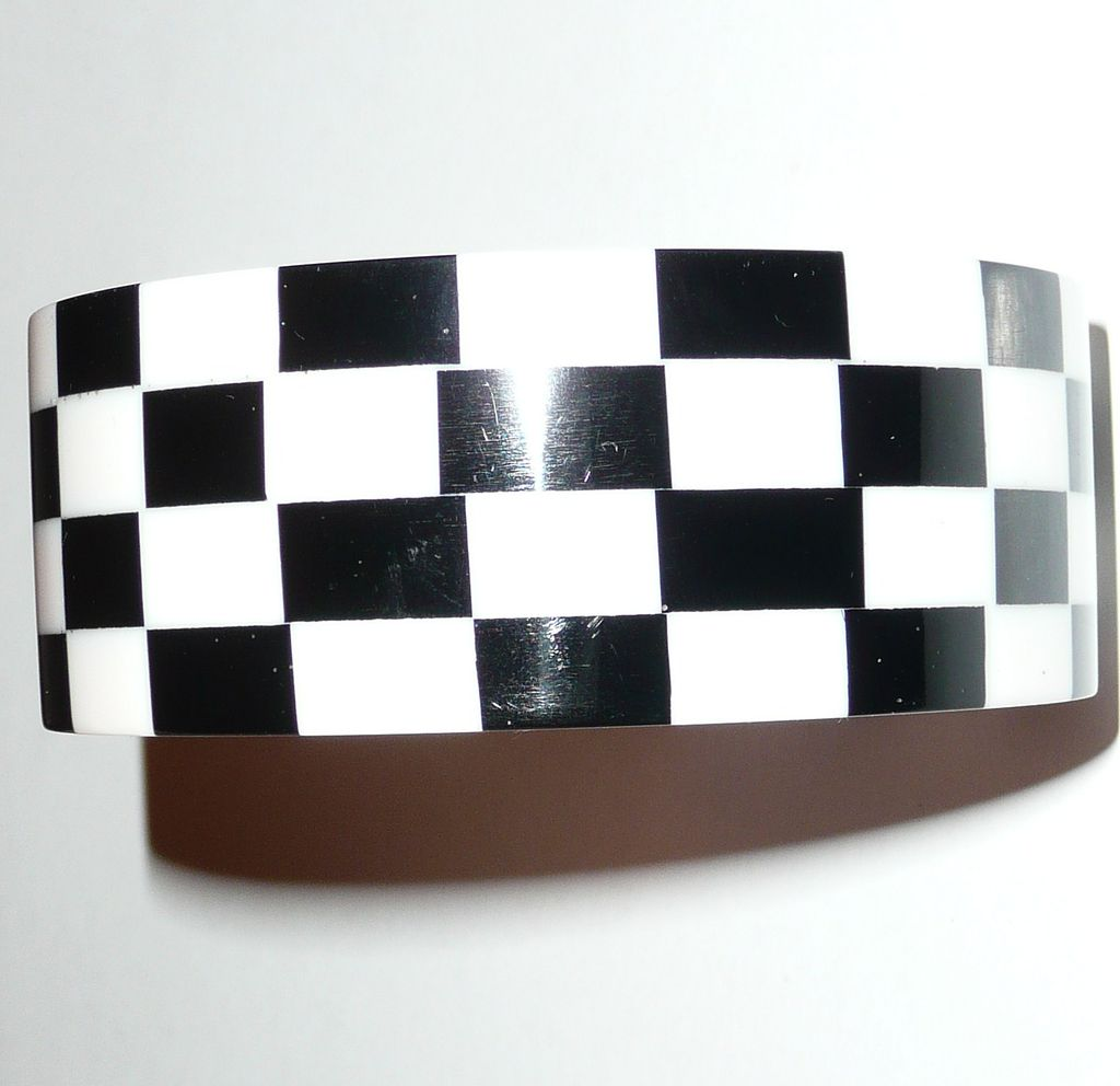 Black and White Thermoset Plastic Bracelet