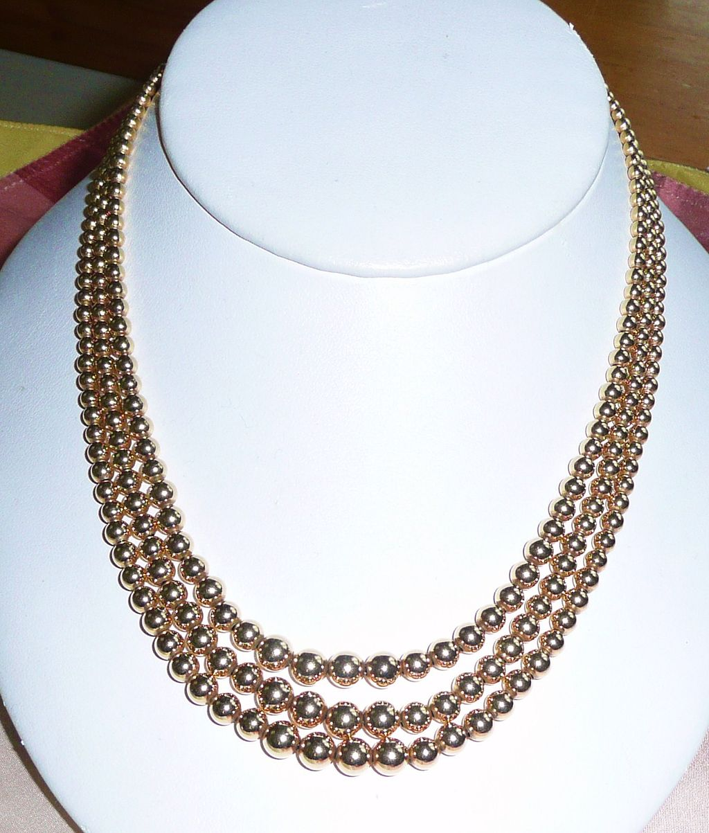 Best Vintage Gold Fill Triple Strand Beads Choker