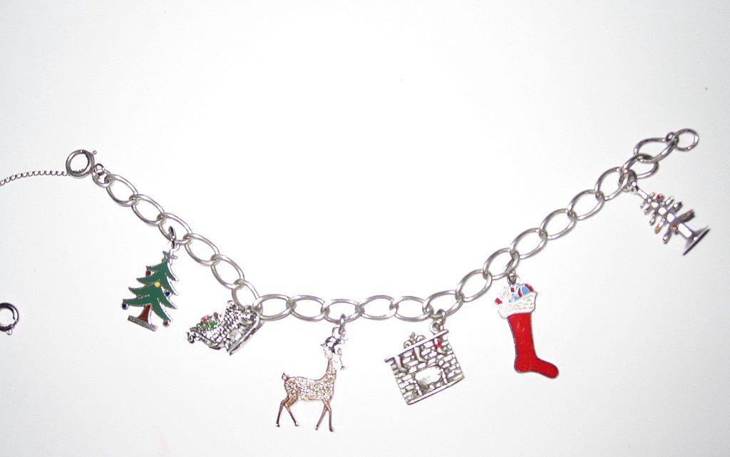 Vintage Sterling Enamel Christmas Charm Bracelet