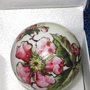 REDUCED Victorian Painted Porcelain  Christmas Ornament