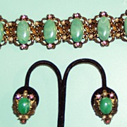 Vintage Green Pink Chunky Bracelet Earrings Set