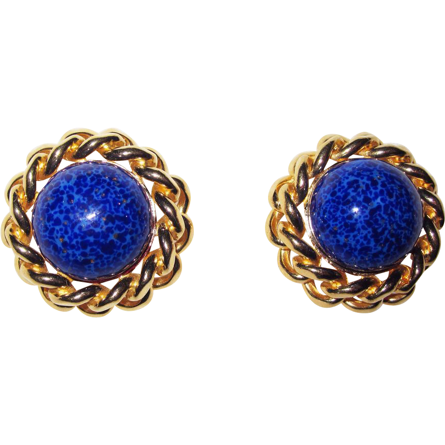 Vintage Ciner Faux Lapis Clip Earrings