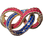 Vintage Ciner Enamel Ribbon Brooch