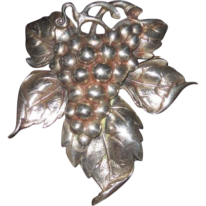Cini Sterling Large Grapes Leaf Brooch And Earrings